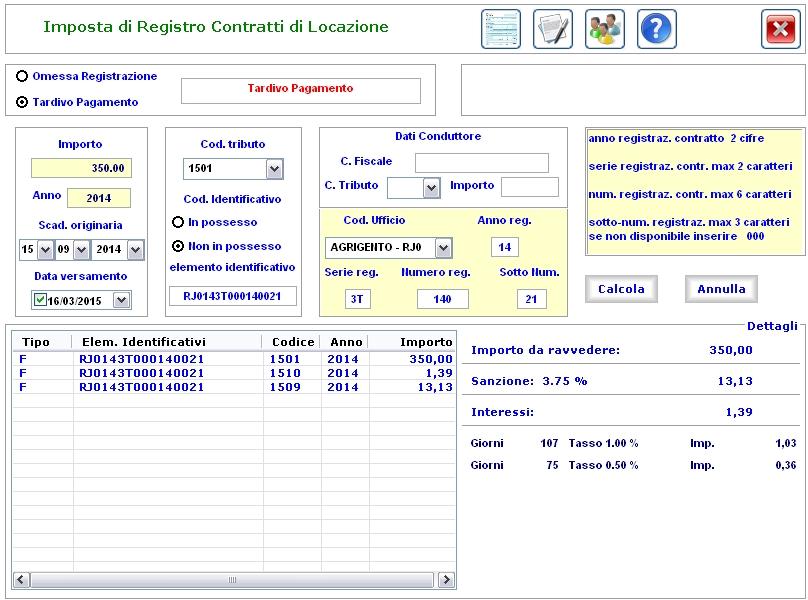 ravvedimento operoso imposta di registro sui contratti
